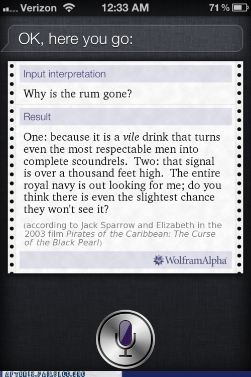jack sparrow,Pirates of the Caribbean,siri,why is the rum gone