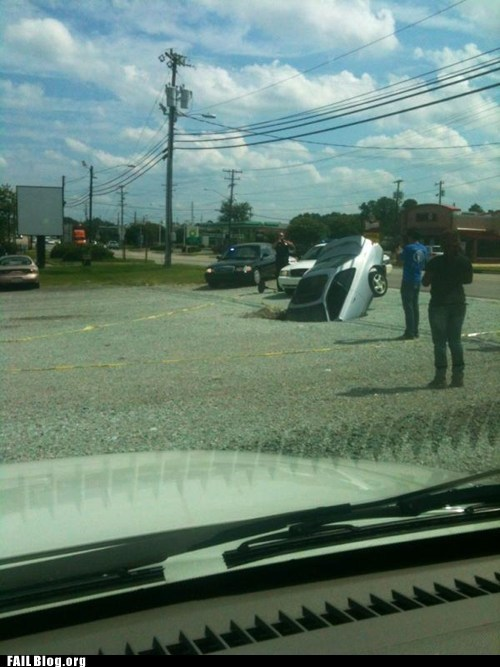 accident,car,om nom nom,sinkhole