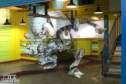 graffiti,hacked irl,illusion,perspective,robot,Street Art