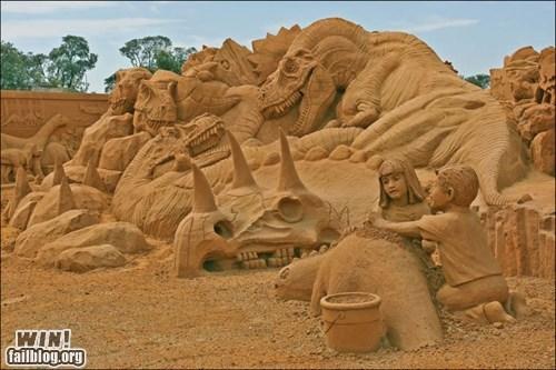 art dinosaur sand castle sand sculpture - 6566535936