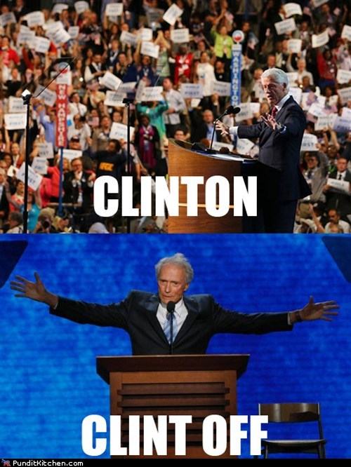 Awkward bill clinton Clint Eastwood dnc empty chair memorable off on pun rnc