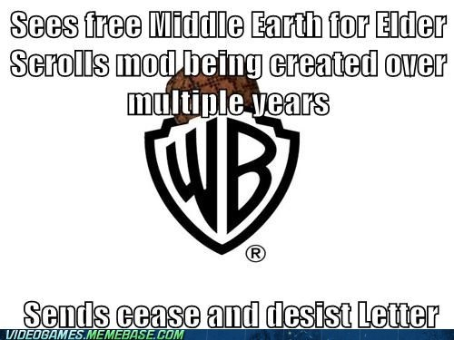 cease and desist,elder scrolls,mod,scumbag,warner brothers