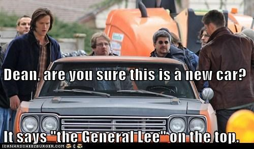are you sure dean winchester dukes of hazard general lee Jared Padalecki jensen ackles new car sam winchester Supernatural - 6567450368