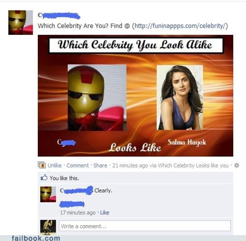 celebrity look-a-like,iron man,salma hayek,tony stark