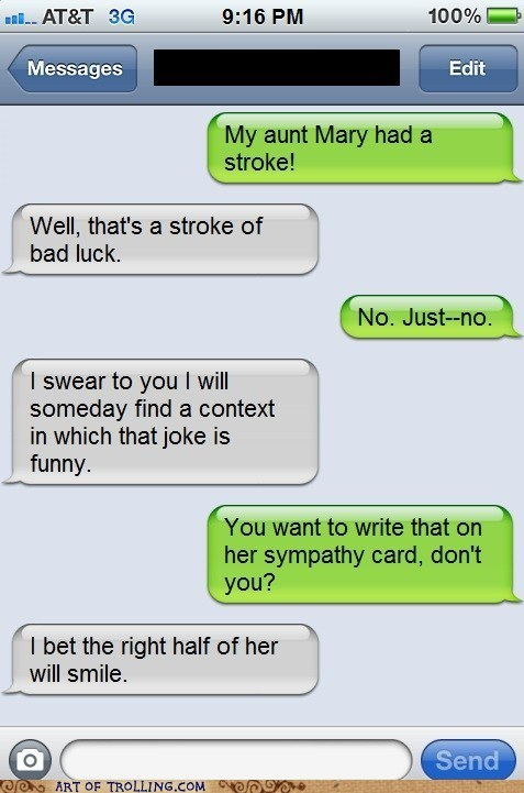 sms,stroke,too soon