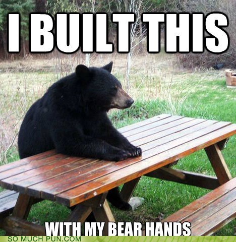bare,bear,building,built,double meaning,hands,homophone,literalism