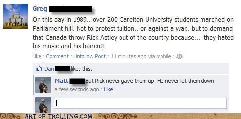 Canada,facebook,rick astley