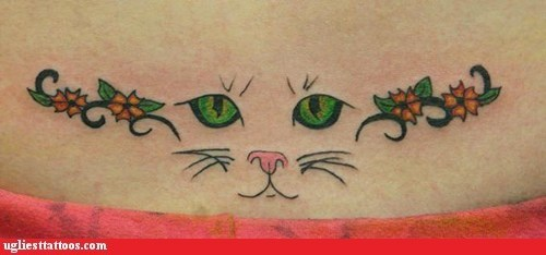 cat,flowers,tramp stamp
