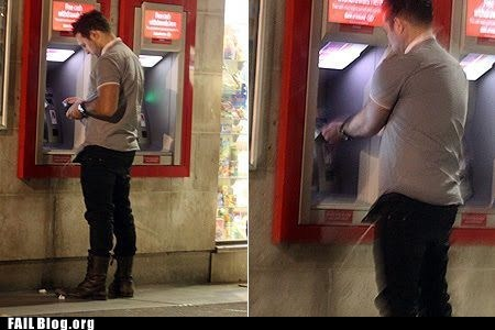 ATM cash machine drunk in public pee stealthy