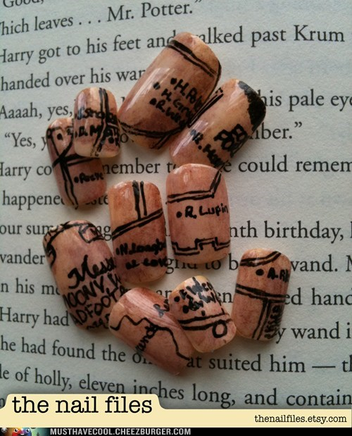 Harry Potter manicure marauders map nails