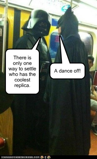 darth vader,batman,coolest,replica,star wars,dance off,fight,settle