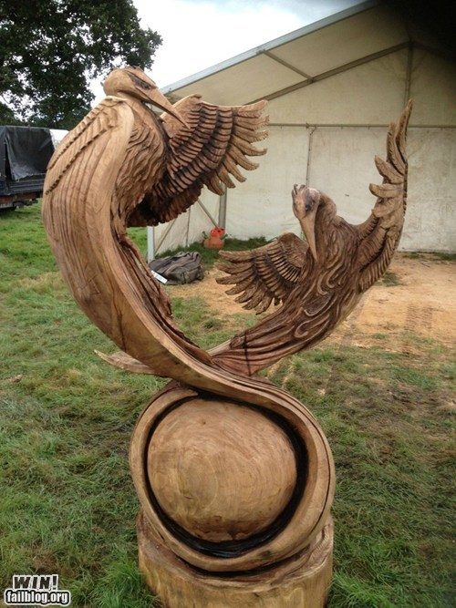 chainsaw,chainsaw sculptures,design,heron,sculpture,wood