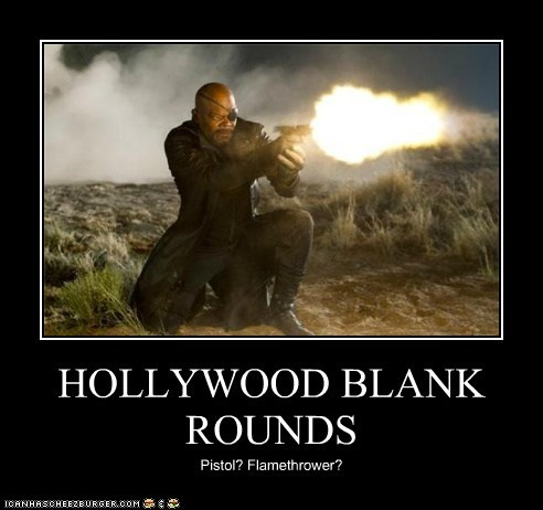 awesome,blank rounds,flame thrower,gun