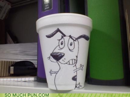courage,courage the cowardly dog,cup,cup of courage,drawing,idiom