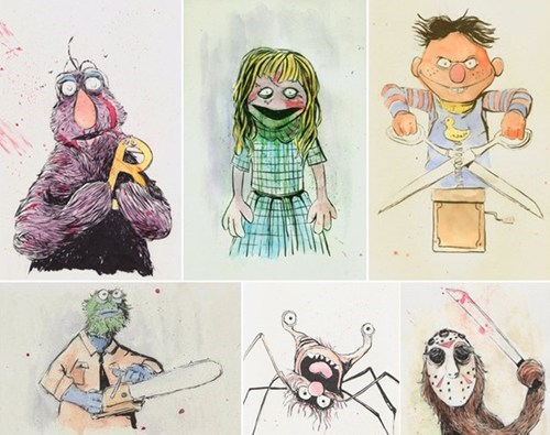 art,horror,nightmare,Sesame Street
