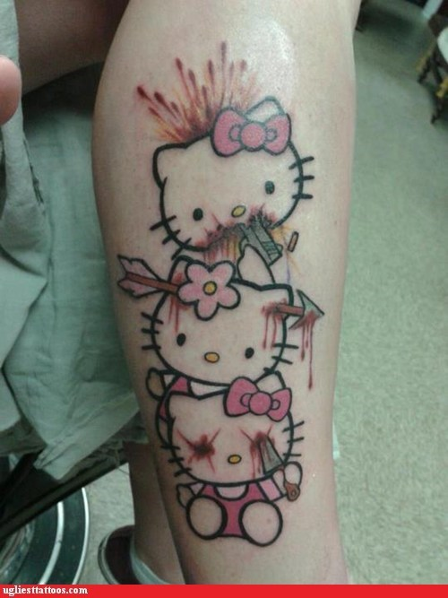 hear no evil,hello kitty,leg tattoos,see no evil,speak no evil