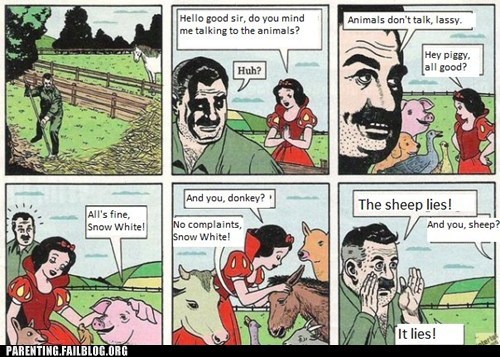 comic,farmer,snow white,Talking Animals
