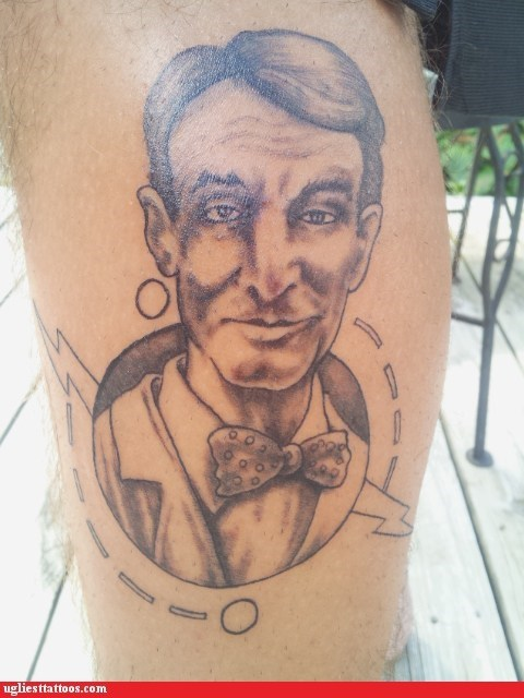 bill nye,leg tattoos