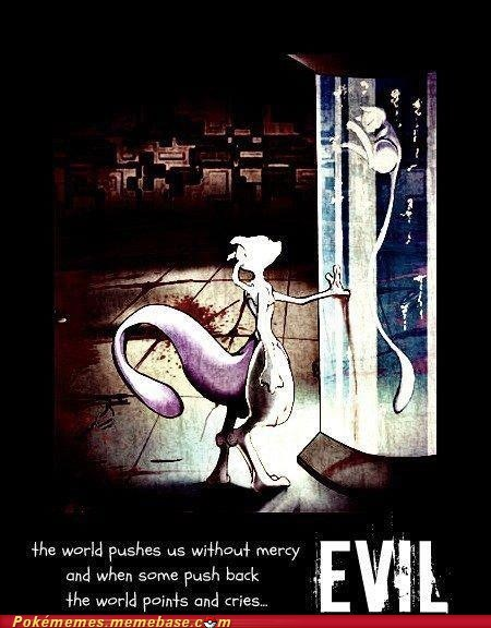 evil,mew,mewtwo,push back,Sad