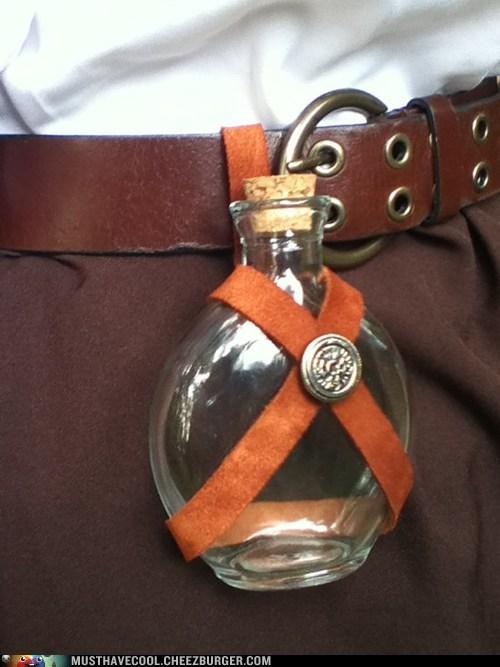 alcohol belt bottle costume flask poison renn faire rennaissance - 6570275072