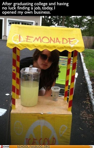 entrepreneur finding a job graduated lemonade stand - 6570480640