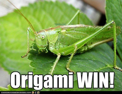 grasshopper origami win folding leaf
