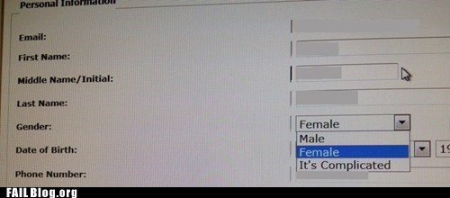 female gender its complicated male menu