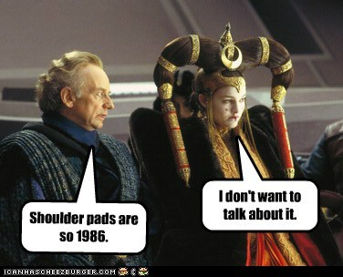 star wars shoulder pads 1986 i dont want to costume natalie portman padme queen amidala Emperor Palpatine Ian McDiarmid