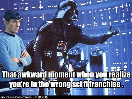 darth vader,Leonard Nimoy,sci fi,Spock,Star Trek,star wars,that awkward moment,wrong