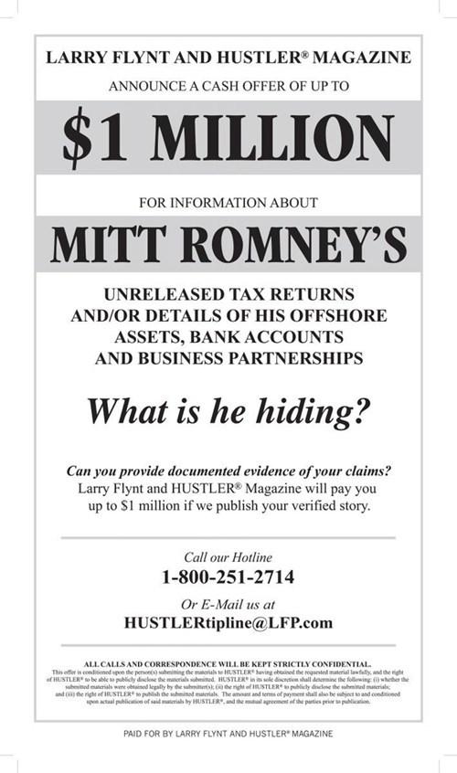 bitcoins bribes larry flynt Mitt Romney mittens - 6573933056