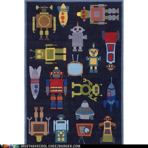 design,pattern,robots,rug