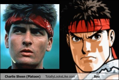 80s actor celeb Charlie Sheen funny nostalgia ryu Street fighter TLL video game - 6574424320