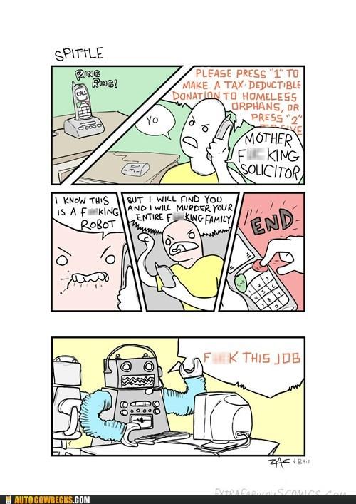 comics extra fabulous comics robots telemarketer