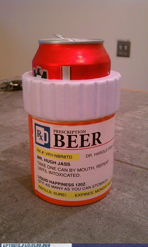 beer,beer cozy,prescription,refill