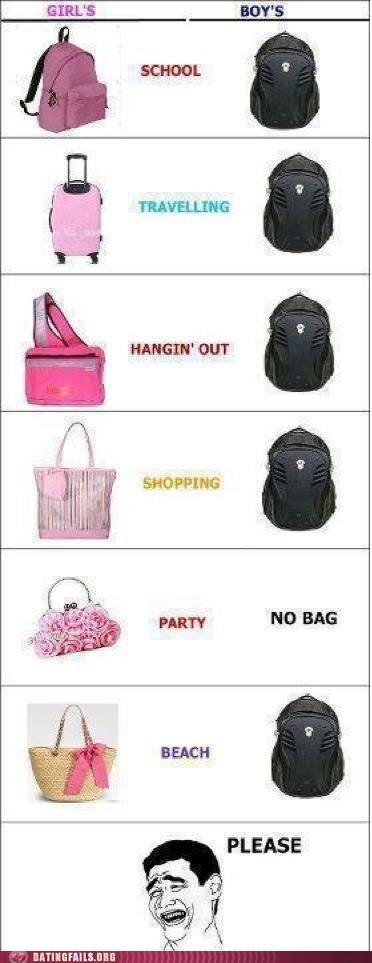 backpacks,girls-vs-boys,men vs women,purses,subtle differences