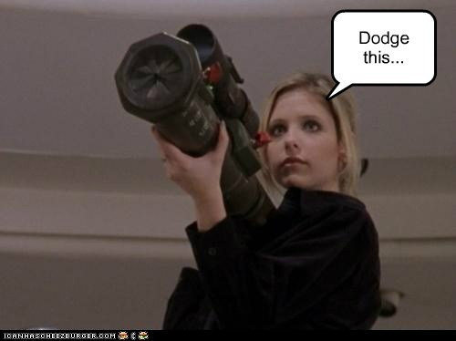 buffy summers,Buffy the Vampire Slayer,dodge,rocket launcher,Sarah Michelle Gellar
