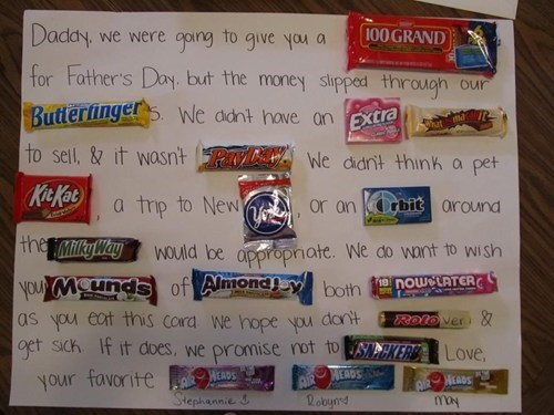 cuz candy,dad,fathers day,notes,sweet