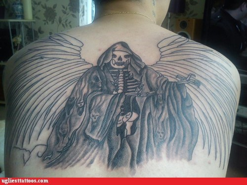 back tattoos,Death,wings