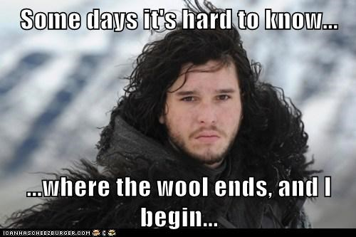blending,Game of Thrones,hair,Jon Snow,kit harrington,Sad,some days,wool