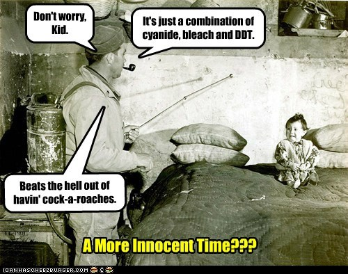 Don't worry, Kid. It's just a combination of cyanide, bleach and DDT. Beats the hell out of havin' cock-a-roaches. A More Innocent Time???