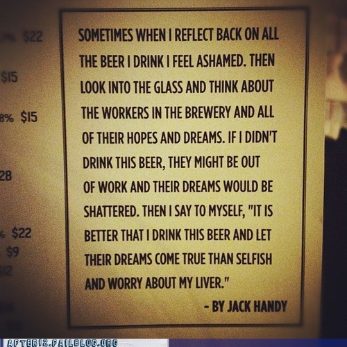 beer employees,job creation,liver,selfish
