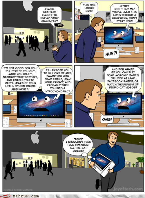 apple,apple store,facebook,hypochondriac,joy of tech,mac,new computer