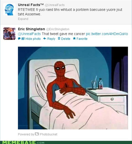 cancer,no these are bad,retweet,Spider-Man,tweet