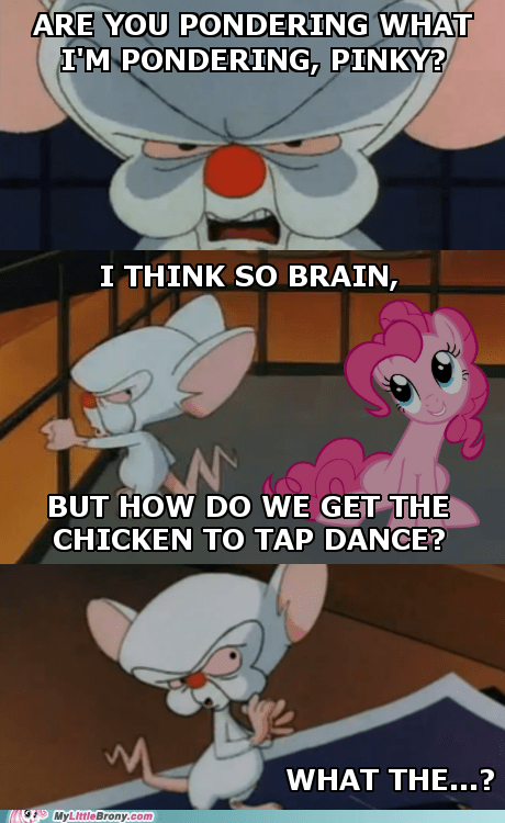4th wall,cartoons,pinkie pie,pinky and the brain,tap dance