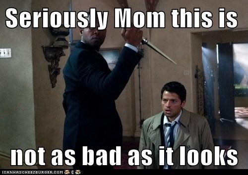 misha collins castiel Supernatural mom stabbing looks bad - 6577012992