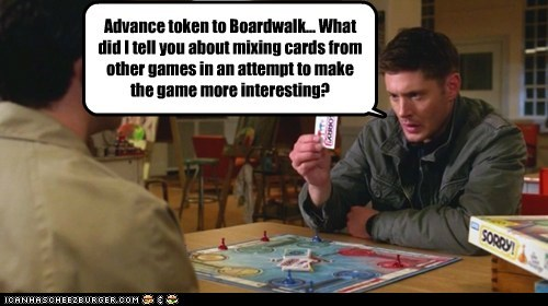 dean winchester,jensen ackles,castiel,misha collins,board game,sorry,boardwalk,monopoly,interesting,mixed up,Supernatural