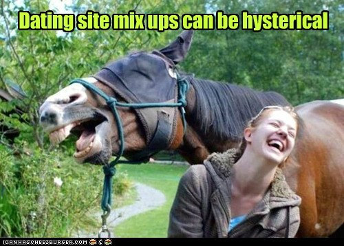 dating site,mix up,hysterical,laughing,horse,confusion