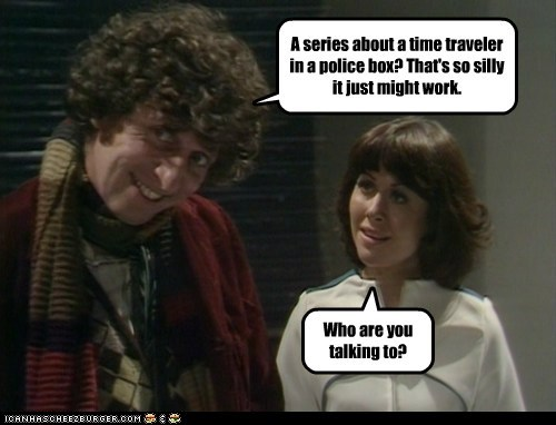 tom baker,sarah jane smith,Elisabeth Sladen,time traveler,police box,series,silly,sci fi