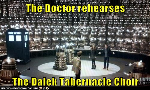 The Doctor rehearses The Dalek Tabernacle Choir