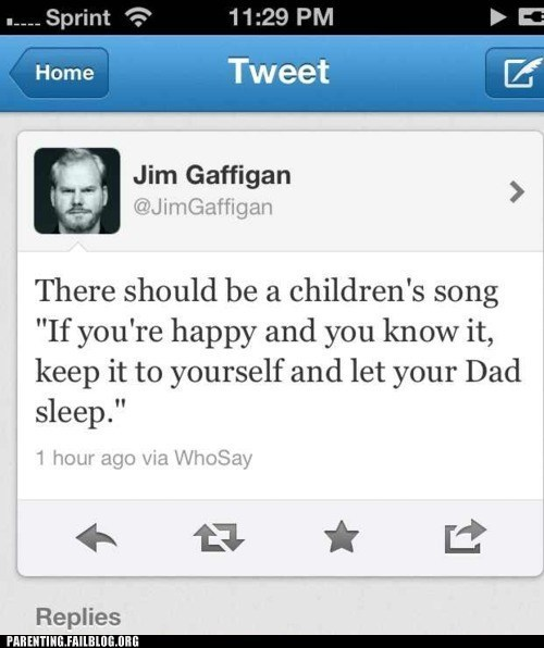 childrens-songs,jim gaffigan,tweet